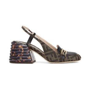 Fendi Promenade Block Heel Slingback Sandal Logo Brown 9.5US/ 40EU