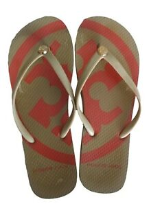 Tory Burch Emory Flat Flip Flops Khaki Brown Orange Gold Logo Sandals 6.5