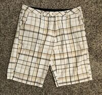 Hurley Plaid Shorts Mens 34 100% Cotton Casual 34W