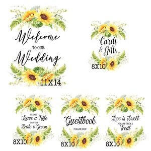 5pcCards/Gifts Wedding/Sunflowers/Rustic/ Style sign 8x10& 11x14,Love is sweet.