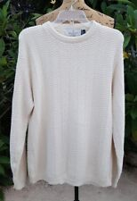 Vintage Mens Medium Bill Blass Ivory Hand Framed Cotton Sweater