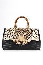 Gucci кожаный бамбуковый топ с леопардовым принтом ручки наплечная сумка черный