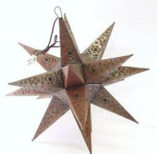 "VINTAGE 23"" BRONZE MORAVIAN STAR LIGHT COLORED MARBLES HANGING LAMP MIGUEL"