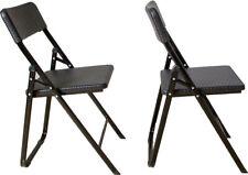 Klappstuhl 2er Set Stühle, schwarz Rattan-Optik, Campingstuhl Balkonstuhl Garten