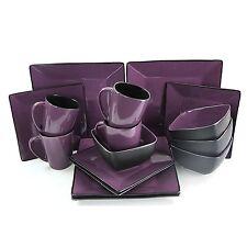 Elama Mulberry Loft 16pc Square Stoneware Dinnerware Large Dish Plate Set for 4
