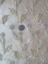 """Vintage c1938 Pale Pink Floral Embroidered Rayon Faille Fabric~25""""LX20""""W"""