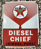 VINTAGE TEXACO DIESEL CHIEF PORCELAIN SIGN TEXAS OIL GAS STATION PETROLIANA 17""
