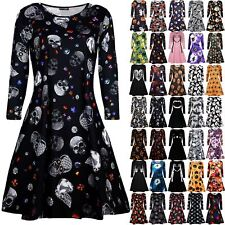 Women Ladies Skull Jewel Scary Pumpkin Halloween Fancy Costume Smock Swing Dress