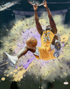 SHAQUILLE O'NEAL LAKERS HOF SIGNED 16X20 METALLIC PHOTO EDIT PSA WITNESS 9A24719