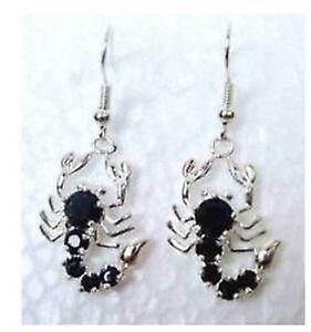Tibet Silver pair black jade scorpion earrings