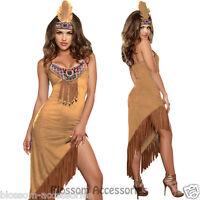 K74 Ladies Pocahontas Native American Indian Wild West Fancy Dress Party Costume
