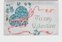 ANTIQUE POSTCARD VALENTINE FORGET ME NOT HEART WITH PINK RIBBON SILVER BACKGROUN