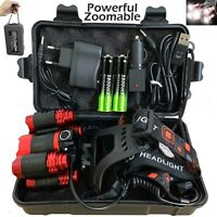 Powerful Zoom 350000LM T6 LED Headlamp Headlight Torch Rechargeable Flashlight