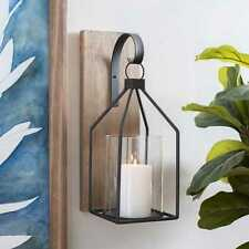 Black Wooden Open Lantern Sconce. Functional Home Accent