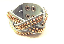 FASHION JEWELRY - Gold Studded Baby Blue Leather Criss Cross Snap Cuff Bracelet