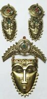 VINTAGE COSTUME JEWELRY MAYAN MASK BROOCH & CLIP ON EARRINGS SET SIGNED AVON