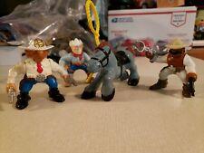 "Vintage 1996 F-P Inc Action Figures Cowboys Blue Horse 3"" Western Toys LOT OF 4"