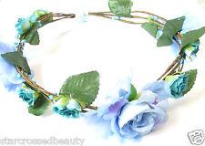 Cornflower Blue Rose Flower Hair Crown Headband Vintage Floral Headdress 30s S38