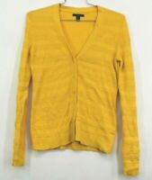 Tommy Hilfiger Women's Medium Yellow Wool Blend Button Front Cardigan Sweater