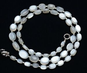 """Natural Gem White Moonstone 7x5 to 10x8mm Size Smooth Nugget Beads Necklace 21"""""""