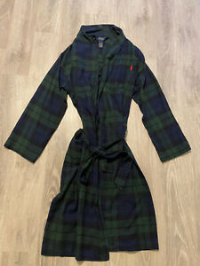 Polo Ralph Lauren Mens Flannel Lightweight Robe Two Pockets- Small Green Plaid