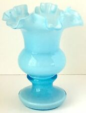 Fenton Glass Vase with Ruffled Top, Powder Blue Overlay, c. 1961-2