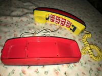RARE VTG CONAIR Telephone SW750 Push Button Phone Primary Colors RED BLUE YELLOW
