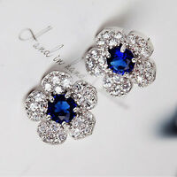1 Pair Flower Blue Crystal Rhinestone Women Girl Stud Earring Fashion Jewelry
