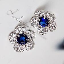 1 Pair Flower Blue Crystal Rhinestone Women Girl Stud Earring Fashion Jewelry