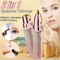 2 in 1 Electric Face Eyebrow Hair Remover Painless Facial Trimmer Razor Epilator