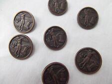 vtg 80s lot 7 engrave etch brass metal button shank Women golfer golf bag cart