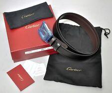 NEW Santos de Cartier Mans Leather Buckle Belt L5000419 Black/Brown Reversible