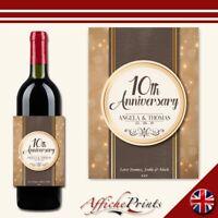 L174 Personalised Fancy Anniversary Wedding Custom Wine Bottle Label Great Gift!