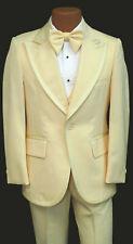 Men's Vintage Yellow Tuxedo with Pants Vest Ruffle & Bow Tie 34 Regular 28 Waist