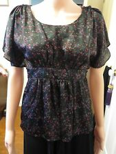 Ladies New Target empire line cape sleeve styled blouse size 8 tied at the back