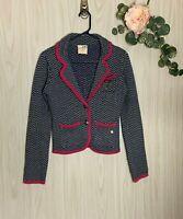 Tommy Hilfiger Sweater Blazer Juniors Women's Size XS Navy Gray Pink Chevron EUC