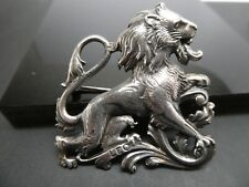 Vintage Lion Leo Zodiac Sign Wild Animal Safari Shiny Marcasite Stones Design Brooch 925 Sterling Silver BB 897J
