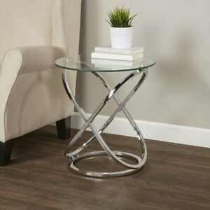Coffee Table decore Clear Glass Round Side End Chrome Base-STB41/CH