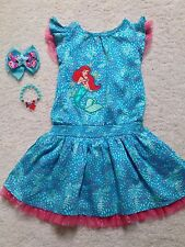 New Ready Made Turquoise Princess Ariel Dress (Toddler/Girls)  Bow & Bracelet