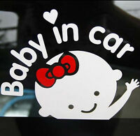 "HOT Cute Girl Baby on Board ""Baby in car"" Window Car Sticker Vinyl Decal White"