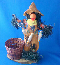"14"" Thanksgiving autumn scarecrow on branch with 4"" basket plant pot"