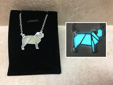 Origami PUG Dog GLOW IN THE DARK Aqua Silver Metal Pendant Abstract Necklace Pet