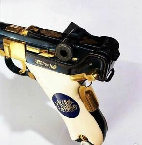 Mauser P08 Luger grips made of Ivory Acrylic with custom Logo made of Brass