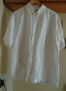 CENTRO WHITE  RAMIE/RAYON SHORT SLEEVE  EMBROIDERED  SHIRT  NEW SZ XL