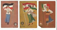 1900s Lot of 3 Germany, Austria & Italy Woman holding Flag Undivided Postcard
