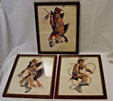3 Plains Indian Dancer Watercolor Prints Shield, Fancy, & Hoop Signed S.Stranger