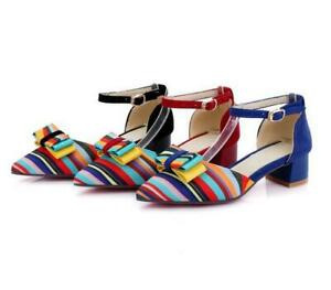 Ladies Block Heel Pointed Toe Stitching Colored Buckle Strap Metal Decor Pumps