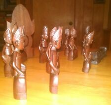 Old Javanese carved wooden figures, set of 13 pieces, gamelan musicians