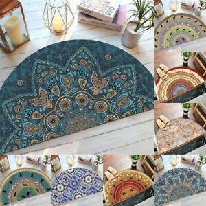 Bohemian Semi Circle Door Mat Entrance D Shape Non Slip Half Moon Rug 80 x 40 cm