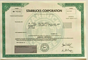 Starbucks > original collectible coffee stock certificate